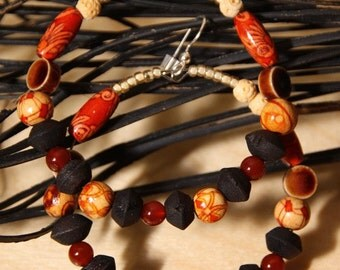 Afrocentric hoop earrings,   Carnelian stone  wood    A Soulful Affair