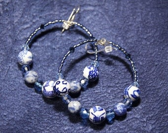 Blue - White Porcelain - Soladite  stone Hoop Earrings Swarovski Crystals  A View Of The Orient