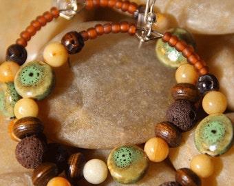 Hoops -  Golden Jade, Lava Rocks - Earrings     Nature is Everywhere