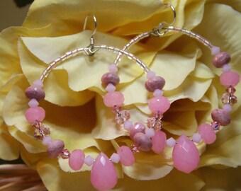 Make Me Blush   Stone Hoop Earrings  Rhodonite, Pink Quartz