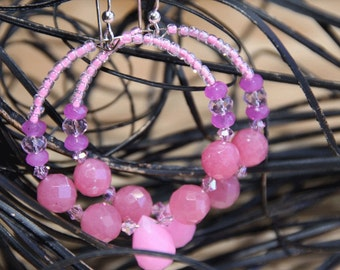 Hoops - Quartz stones -   Raspberry, Pink colors  -  Earrings -  BUBBLE GUM THOUGHTS