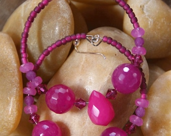 Hoops - Fuchsia Pops -  Stone Earrings,    Fuchsia ,   Raspberry Quartz