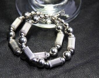 Hoop Earrings sterling silver beads TUNNELS OF SILVER