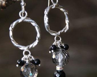 Dangle -  Black Onyx  - Rock Crystal -   Sterling Silver  -  earrings  -  RAINBOW  CRYSTAL BALLS