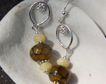 sterling silver Stones Dragon Veins  agate, Yellow Opal Earrings Drop Style