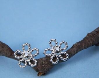 Flower Earrings  Sterling Silver  Beaded Wire post earrings