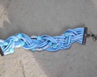 Suede cuff,  Light blue, Braided, Bead, Bracelet for women
