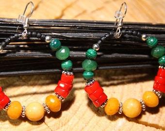 RASTA One Love Earrings Malachite Emerald Red Coral Yellow Jasper Golden Jade Hoops