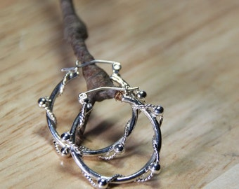 Hoop sterling silver twisted wire bead  Earrings   The Twisted One
