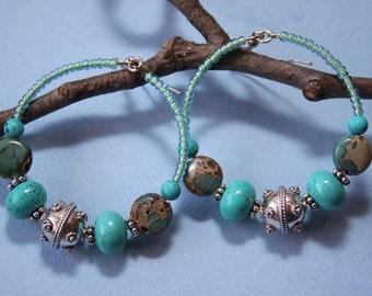 2 Turquoise Sterling Silver Bali Aqua Terra Jasper Stone Hoop Dangles