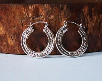 HOOPS  Medium Sterling Silver Beaded Wire style Earrings