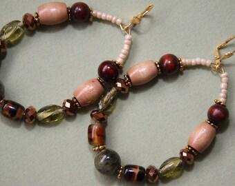 LG Ovals  porcelain Wood glass brown olive animal print GREEN NATURALS  Hoop Earrings