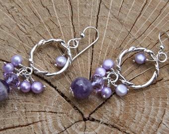 Amethyst stones Pearls Sterling Silver Earrings Drop Style