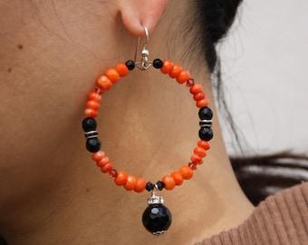Black Onyx Coral Hoop Earrings CORAL FUSION