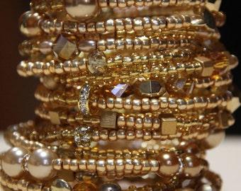 Women's Cuff  Gold  Beaded 18 Coil wrap around  ,    Cleopatra's Golden Cuff