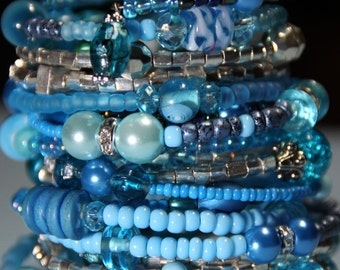 Reserved - VBlessed Montego Bay    CARIBBEAN BLUE OCEAN -  Women's  Beaded Cuff  18 coil wrap around