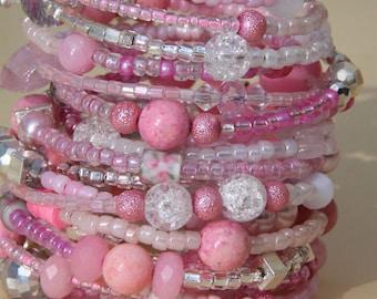 Baby Pink Women's Beaded Wrap Cuff