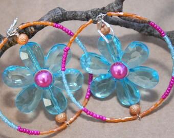 Turquoise color Acrylic Flower hoop earrings, Fuschia,orange