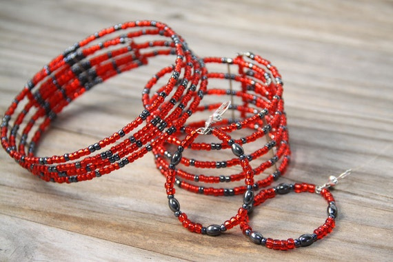 Red  Choker Earrings  Bracelet Cuff Set