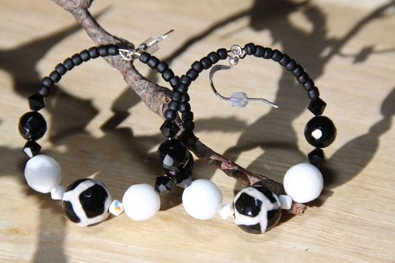 dangle hoops Black white Onyx Quartz Swarovski Hoop earrings   Panda Bears