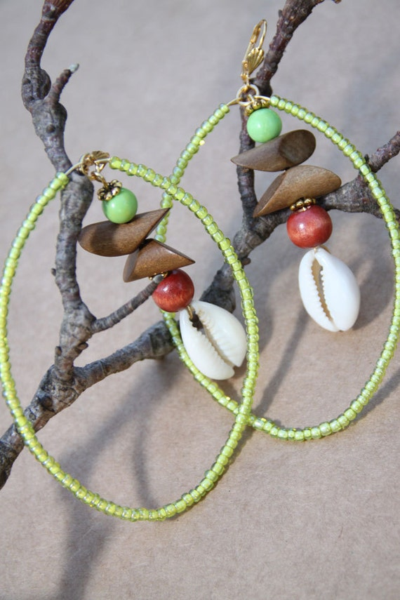 Cowrie Shell Hoops - Gaspeite stone - wood