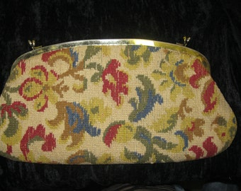 Vintage Tapestry Floral Double Snap Clutch Purse Creations by International