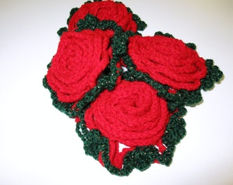 Crocheted Red Roses-home decoration Brooch-Set of 2
