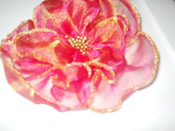 Chiffon Hot Pink Flower- Brooch or PIN( Free Shipping)