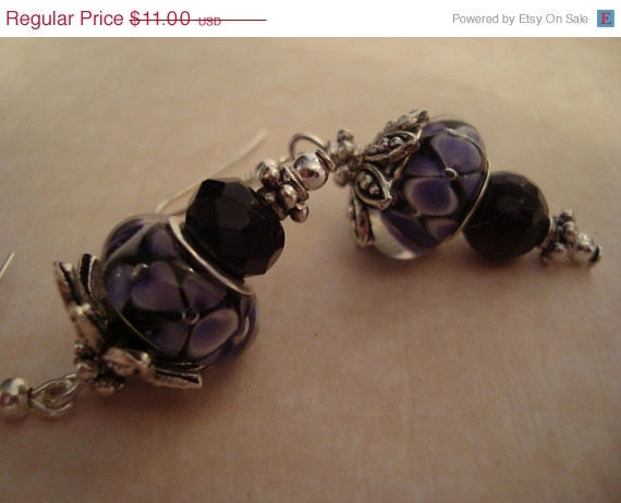 HOLIDAY SALE: Purple, Silver and Black Dangle Earrings