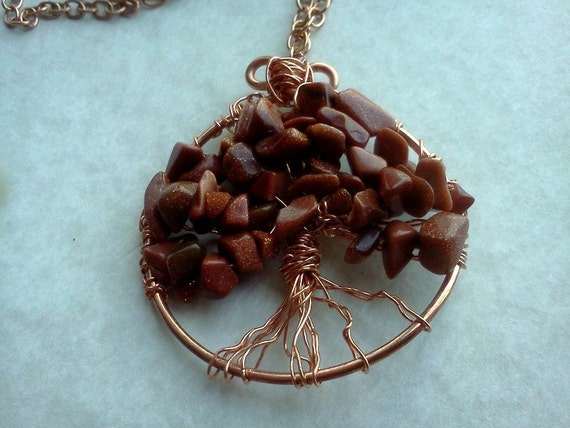 RESERVED  for the BOOKISHKIND: Tree of Life with Copper and Goldstone Gemstones Necklace and Earrings