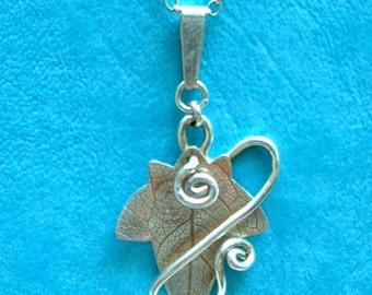 Ivy Hedgerow pendant silver, SquareHare,Jewellery, UK, Vegan, Free Shipping