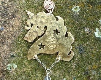 Unicorn Celestial pendant, Jewellery SquareHare, Free Postage, UK, Vegan fantasy enchanted dreams legand equine horse jewellery pagan summer