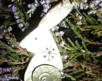 Hare Pendant Snowflake Jewellery, UK, Free Shipping, Vegan, SquareHare