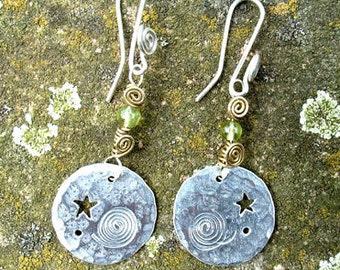 silver Circular Megalith Earrings, Jewellery SquareHare, free Postage, vegan, UK pagan