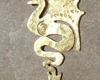 Dragon pendant in profile, SquareHare, UK, Free Postage, Vegan, fantasy