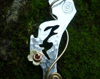 Hare Jewellery Pendant Silver and Brass SquareHare UK Free Postage Vegan celtic eco pagan easter jewellery handmade wildlife wedding event