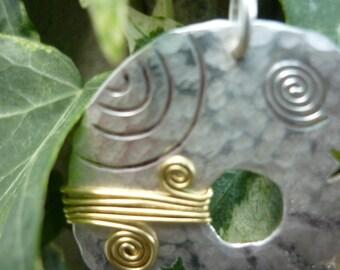 Silver Circular Megalith pendant Jewellery SquareHare, UK,  Free Postage, Vegan, pagan, celtic