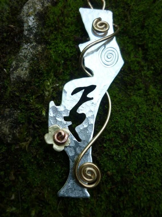 Hare Jewellery Pendant, Silver and Brass, SquareHare, UK, Free Postage, Vegan