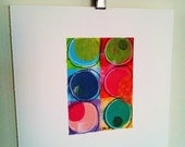ORIGINAL abstract painting CIRCLES V Colorful mini mixed media collage