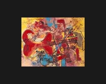 Red Guitar - Music Print