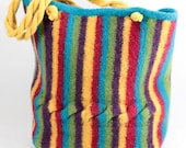 Circus Stripes and Cable Felted Tote