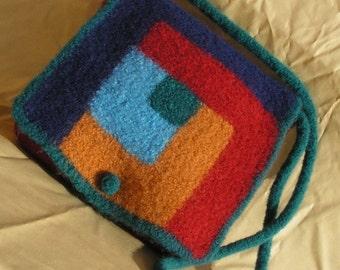 Knitting Pattern - Log Cabin Felted Purse - messenger style bag