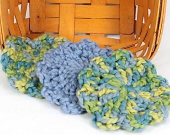 Organic Cotton Flower Face Cloth - Set of 3 -Ocean and Dusky Blue