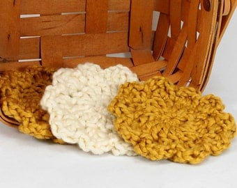 Organic Cotton Flower Face Cloth - Set of 3 -Gold and Almond