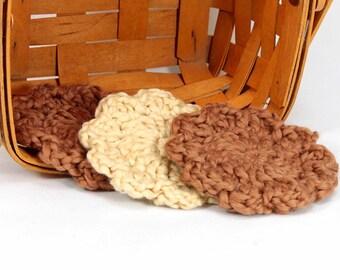 Organic Cotton Flower Face Cloth - Set of 3 - Pecan and Macadamia