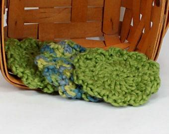Organic Cotton Flower Face Cloth - Set of 3 - Pistachio and Ocean Blues