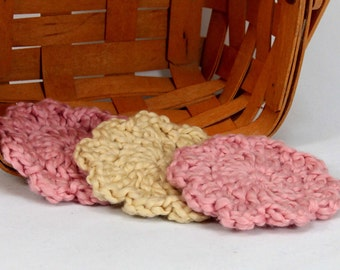 Organic Cotton Flower Face Cloth - Set of 3 - Strawberry and Macadamia