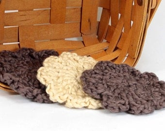 Organic Cotton Flower Face Cloth - Set of 3 - Walnut and Macadamia