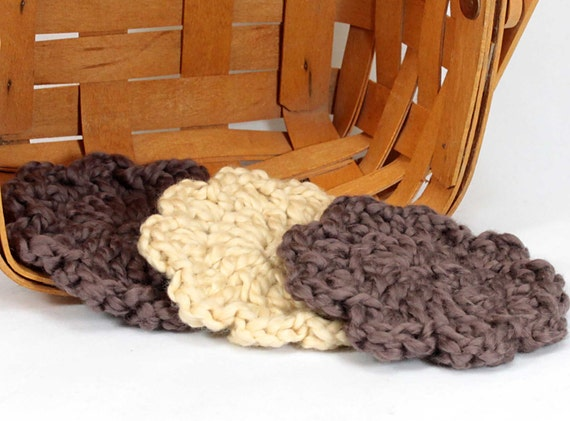 Organic Cotton Flower Face Cloth - Set of 3 - Walnut and Macadamia