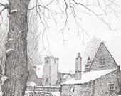 A Cottage Under Snow- Etching